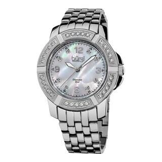Burgi Women's Diamond Swiss Quartz Stainless Steel Bracelet Watch