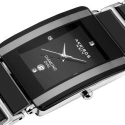 Akribos XXIV Men's Rectangular Ceramic Quartz Black Bracelet Watch