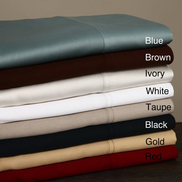 410 Thread Count Solid Sateen Sheet Set, 100-percent Egyptian Cotton