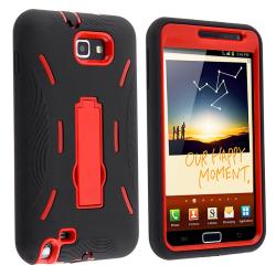 Red/ Black Hybrid Case with Stand for Samsung Galaxy Note N7000/ I717