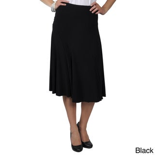 Journee Collection Women's Solid-Colored Flowing Knit Flare Skirt