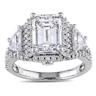 Miadora Signature Collection 14k White Gold 3 3/4ct TDW Certified Emerald Diamond Ring (E, SI1, GIA)