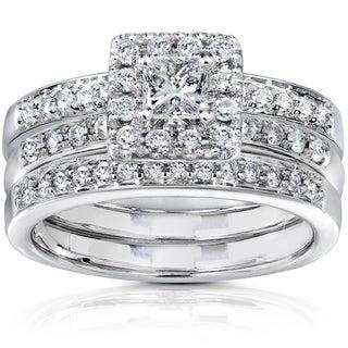 Annello 14k White Gold 3/4ct TDW Diamond Bridal Set (H-I, I1-I2) with Bonus Item