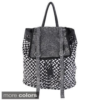 Journee Collection Women's Basketweave Rhinestone Accent Backpack
