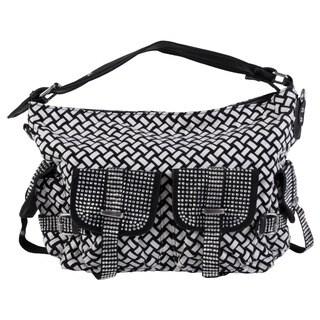 Journee Collection Women's Basketweave Rhinestone Accent Satchel