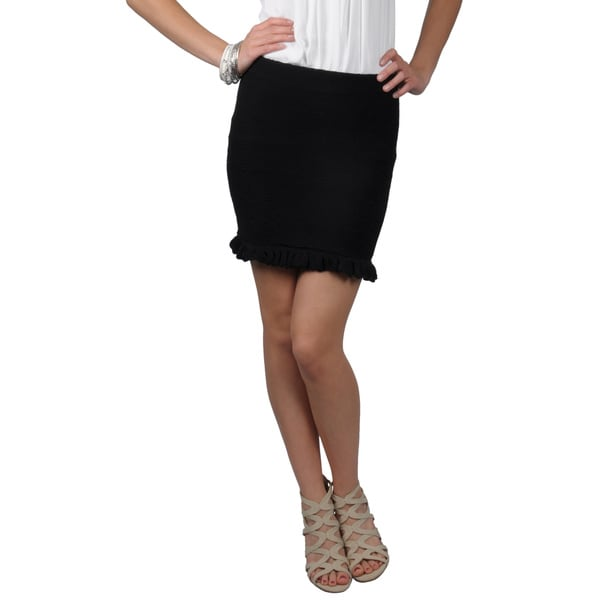 Journee Collection Juniors Textured Ruffled Mini Skirt
