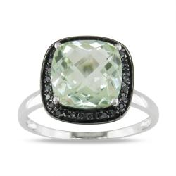 Miadora 14k White Gold 2-1/2ct Green Amethyst and 1/10ct Black Diamond Ring