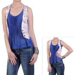 Journee Collection Juniors Floral Print Casual Fashion Vest