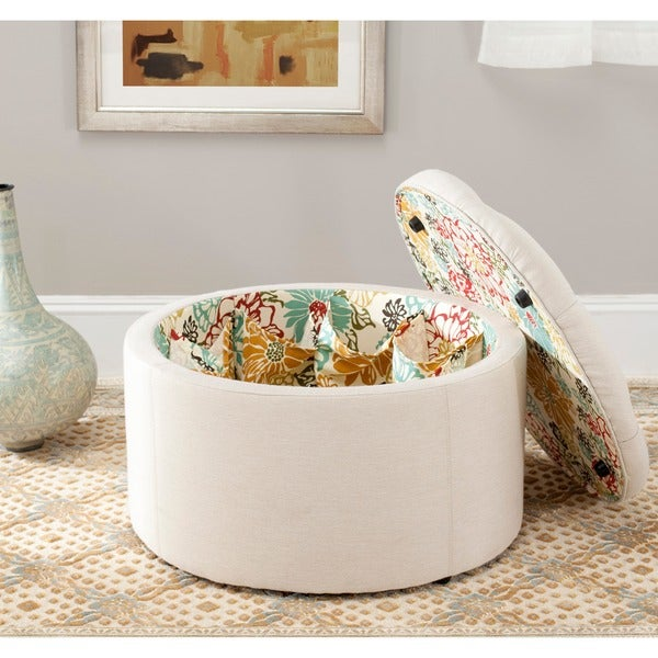 Safavieh Paris Beige Shoe Storage Ottoman