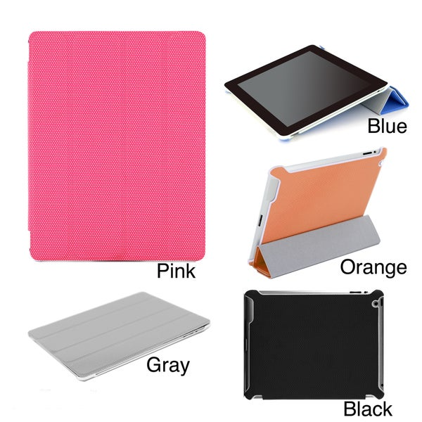 Premium Apple iPad 3/4 Ribbed Leatherette Hybrid Smart Case with Screen Guard