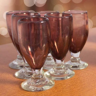 Set of 6 Blown Glass 'Amethyst Celebration' Shot Glasses (Mexico)
