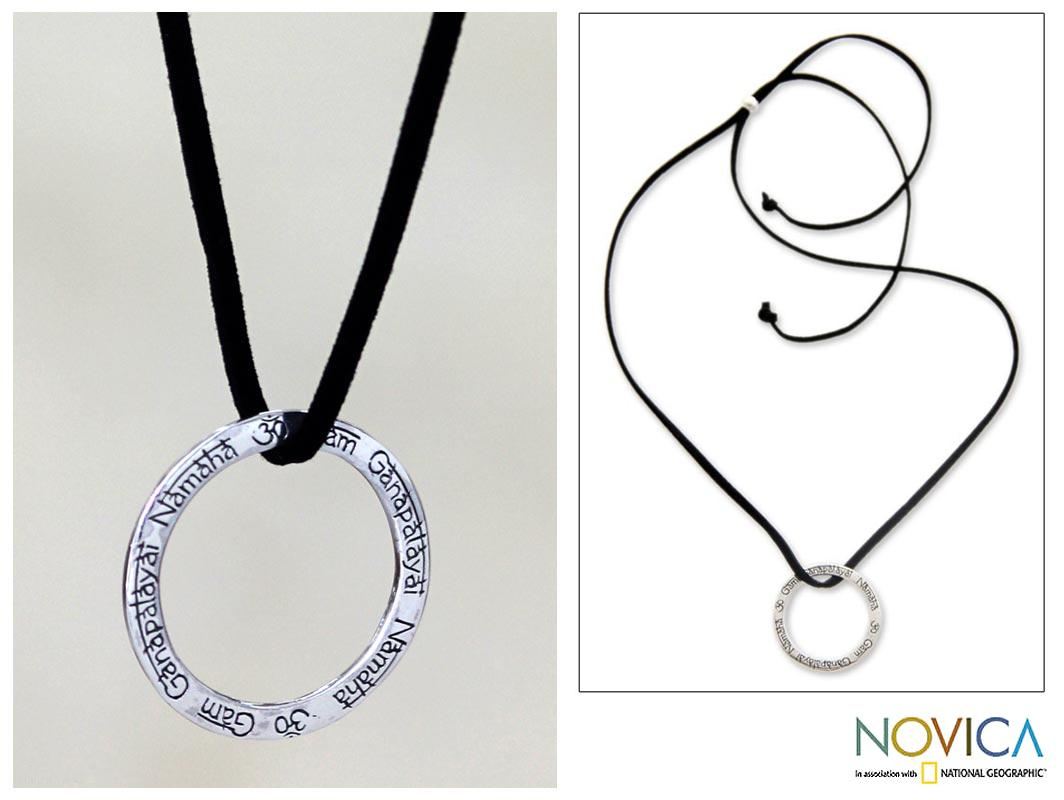 Sterling Silver 'Ganesha Mantra' Necklace (Indonesia)