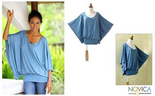 Rayon 'Azure Butterfly' Tunic (Indonesia)