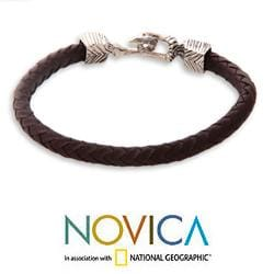 Men's Sterling Silver 'Rugged Aesthetics' Leather Bracelet (Indonesia)