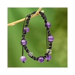 Sterling Silver 'Violet Peace' Amethyst Macrame Bracelet (India)