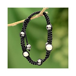 Sterling Silver 'Mumbai Night' Hematite Macrame Bracelet (India)