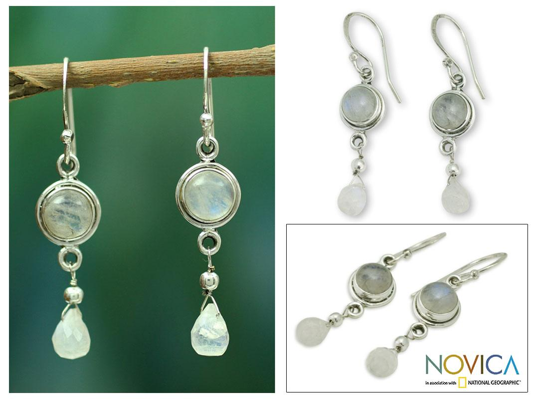 Sterling Silver 'Shimmer' Moonstone Dangle Earrings (India)