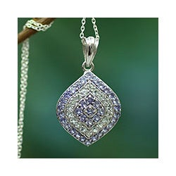 Sterling Silver 'Petals' Tanzanite and Aquamarine Necklace (India)