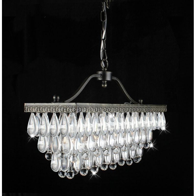 crystal glass drop 3 light antique copper chandelier