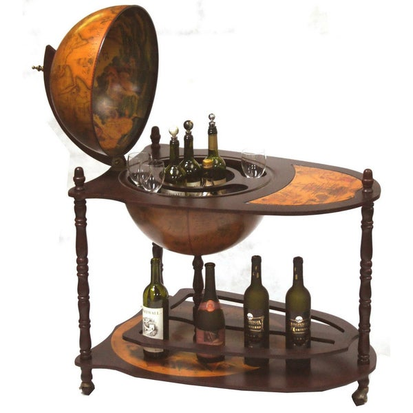 Old world globe bar wine bar trolley 14259837 for 16 inch floor old world bar globe cart
