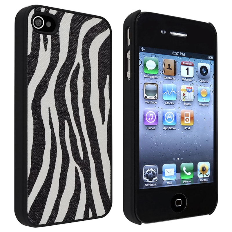 Black/ White Zebra Rear Snap-on Leather Case for Apple iPhone 4/ 4S