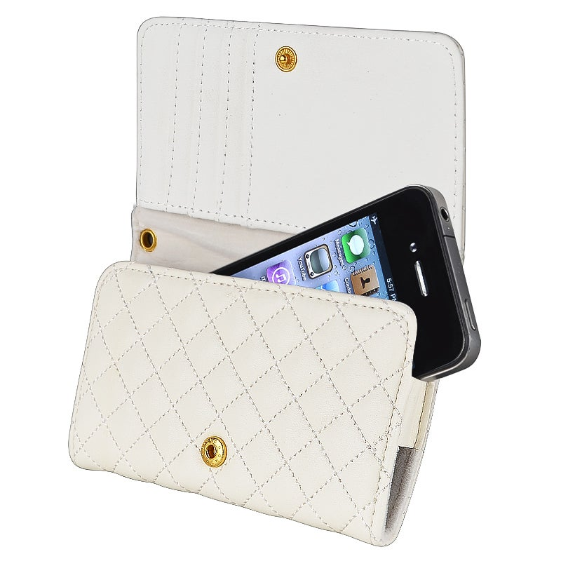 INSTEN White Phone Leather Wallet Phone Case Cover