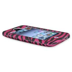 INSTEN Hot Pink Zebra Rubber Coated iPod Case Cover for Apple iPod Touch Generation 2/ 3