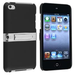 Black with Chrome Stand Snap-on Case for Apple iPod Touch Generation 4