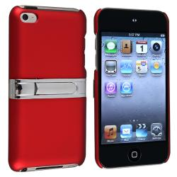 Red with Chrome Stand Snap-on Case for Apple iPod Touch Generation 4