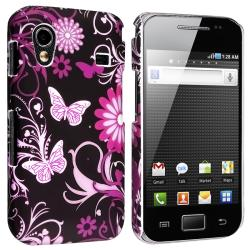 Black/ Pink Snap-on Rubber Coated Case for Samsung Galaxy Ace S5830