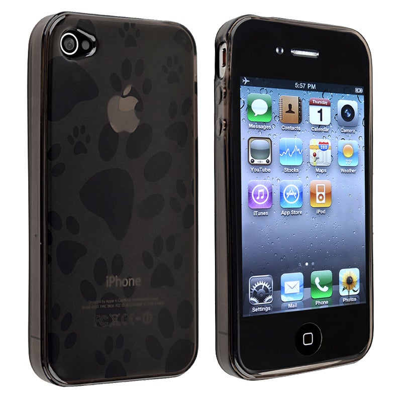 Black Dog Paw Foot Print TPU Rubber Skin Case for Apple iPhone 4/ 4S