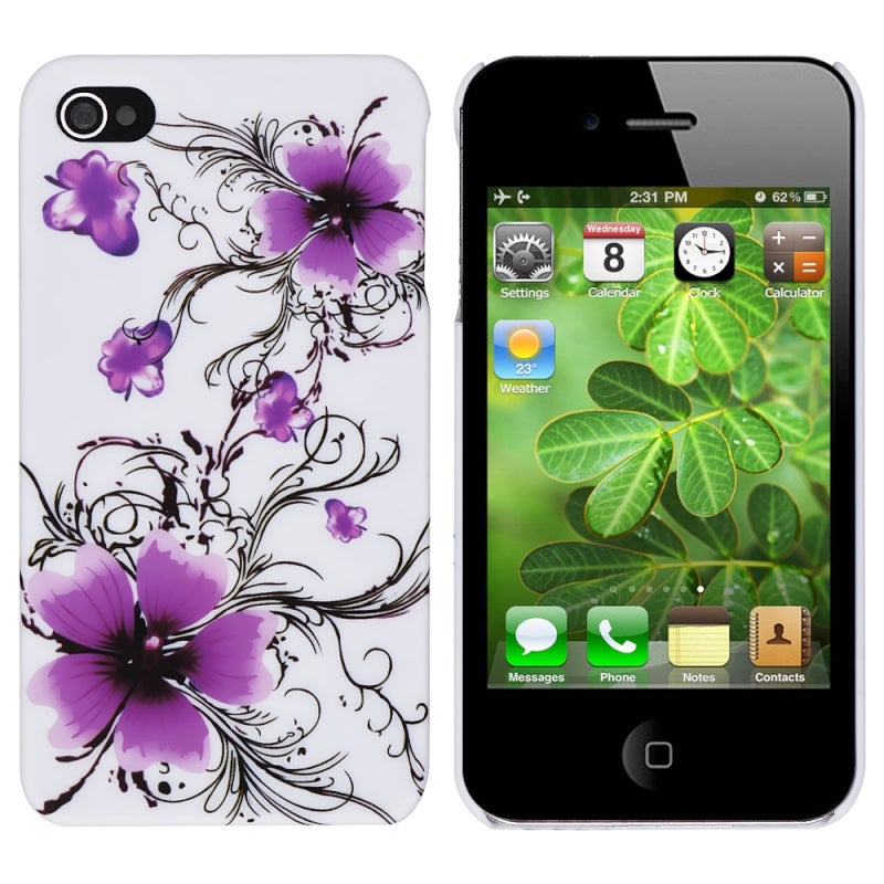 Purple Flower Snap-on Case for Apple iPhone 4/ 4S