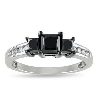Miadora 10k White Gold 1 1/2ct TDW Princess-cut Black and White Diamond Ring (H-I, I2-I3)