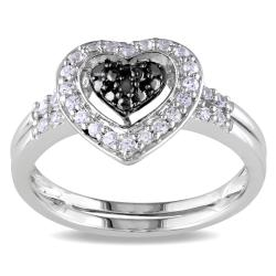 Miadora Sterling Silver 1/3ct TGW White Sapphire & Black Diamond Heart Ring
