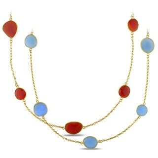 Miadora 22k Gold over Silver 42ct TGW Gemstone 36-inch By-the-yard Necklace