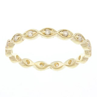 Beverly Hills Charm 10k Yellow Gold 1/5ct TDW Diamond Eternity Band Stackable Ring