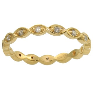 Beverly Hills Charm 10k Yellow Gold 1/5ct TDW Diamond Eternity Stackable Band Ring (H-I, I2-I3)