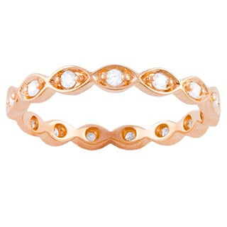 Beverly Hills Charm 10k Rose-gold 1/5ct TDW Diamond Eternity Stackable Band Ring