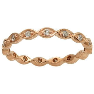 Beverly Hills Charm 10k Rose Gold 1/5ct TDW Diamond Eternity Stackable Band Ring (H-I, I2-I3)