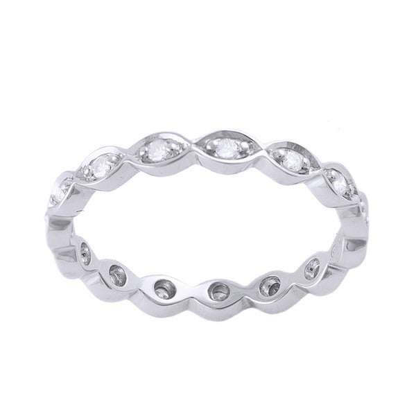 Beverly Hills Charm 10k White Gold 1/5ct TDW Diamond Eternity Stackable Band Ring (H-I, I2-I3)