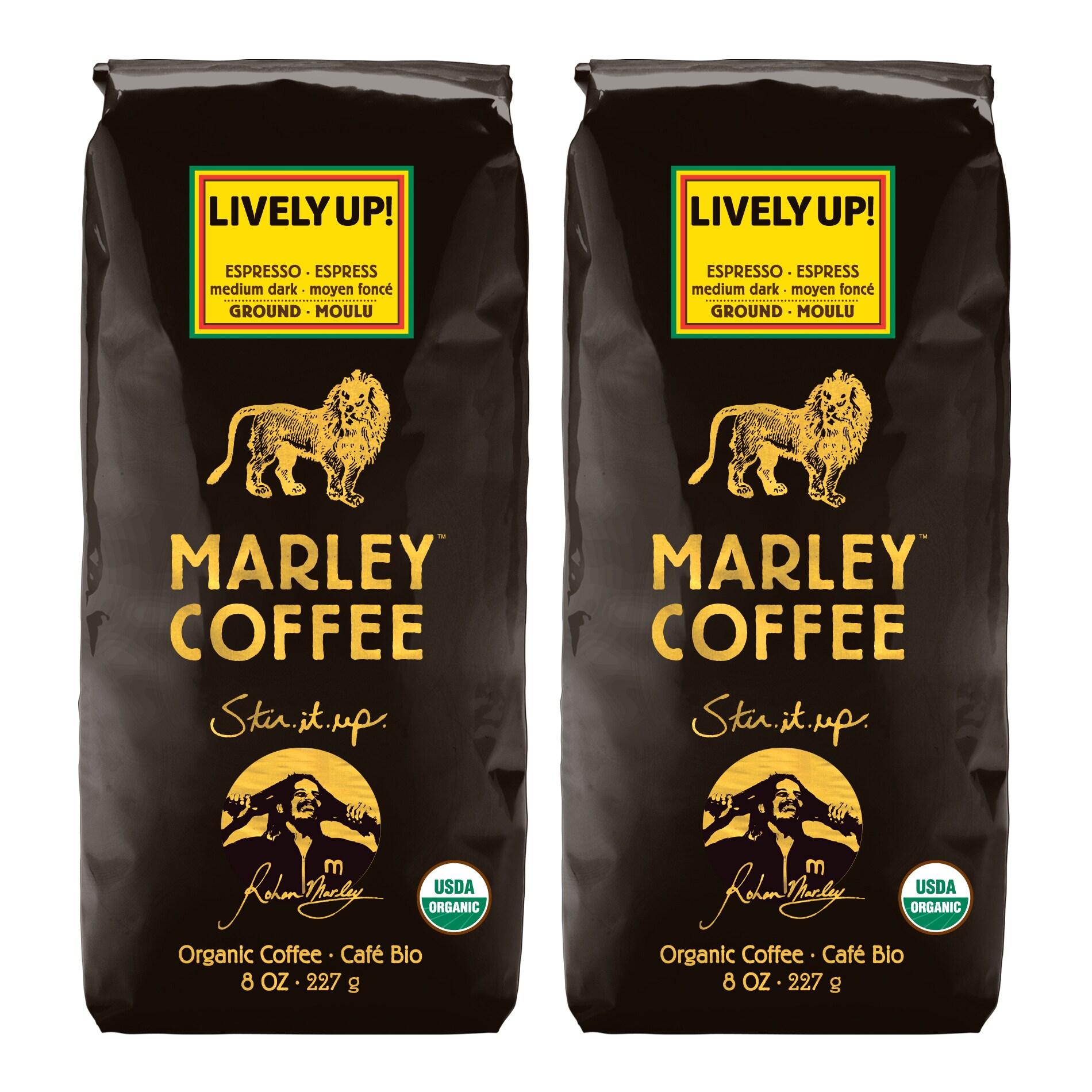 Marley Coffee Lively Up Espresso Ground Coffee (1 Pound)