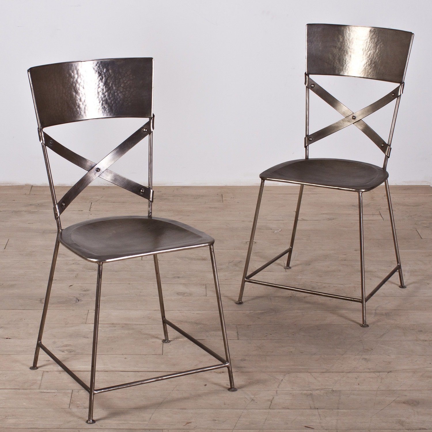 Set of Two Jabalpur Dining Chair Antique Nickel (India)