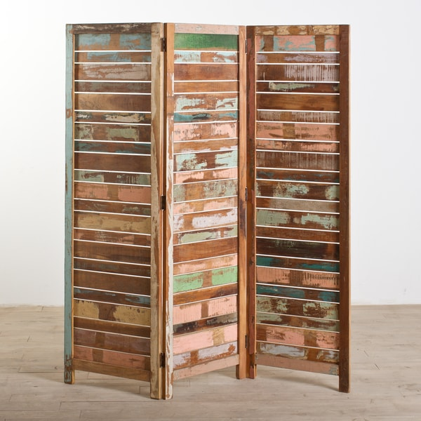 Reclaimed Wood Three-Panel Screen (India)