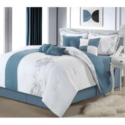 Ann Harbor 8-piece Blue/white Comforter Set