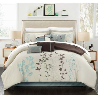Bliss Garden 8-piece Beige Oversized Comforter Set