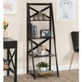 Black Wood X-back 4-tier Ladder Shelf