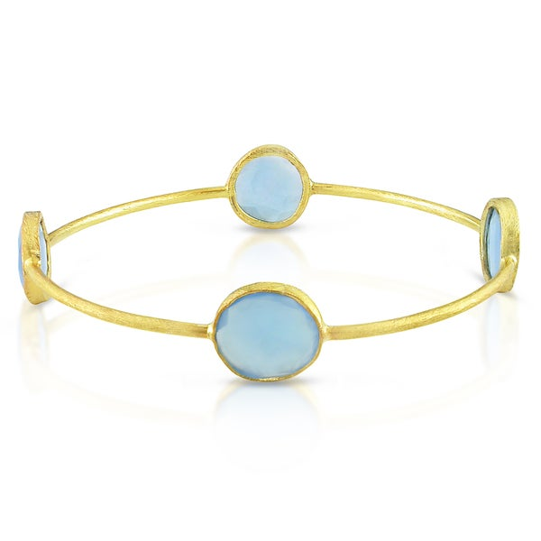 M by Miadora 22k Goldplated Silver 16ct TGW Rose Quartz or Blue Onyx Bracelet