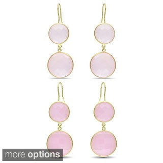 M by Miadora Goldtone 50ct TGW Synthetic Rose Quartz or Pink Opal Dangle Earrings