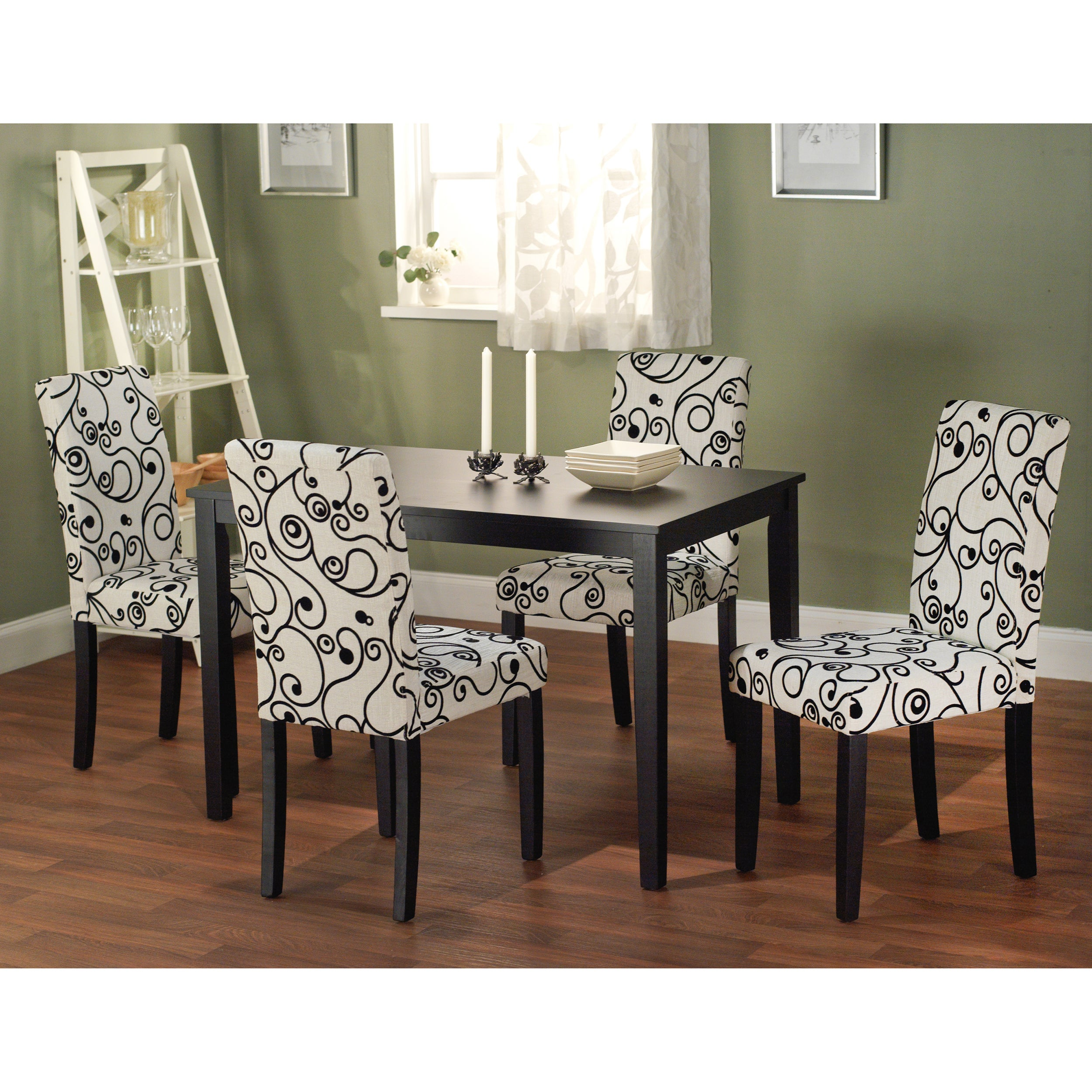 Sophia 5 piece parson dining set table chairs room piece for 5 piece dining room set with bench