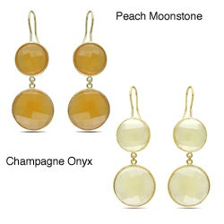 Miadora Goldtone 50ct TGW Synthetic Moonstone or Champagne Onyx Dangle Earrings
